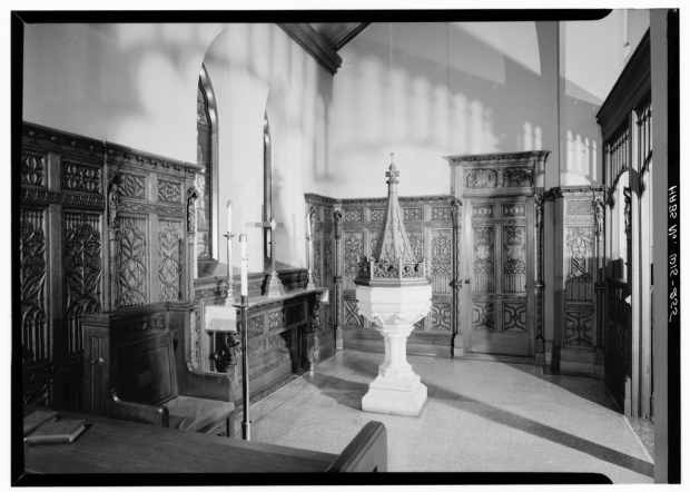 The stone baptismal font was donated by the workers who rebuilt St. James after a devastating fire. Library of Congress Prints and Photographs Division