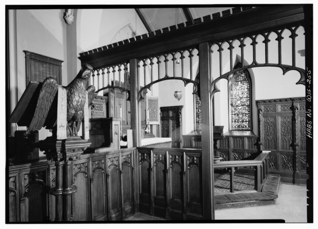 An interior view of St. James from a 1969 historic survey. Library of Congress Prints and Photographs Division