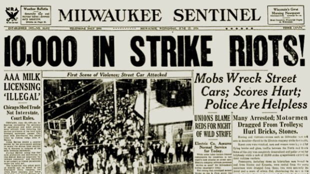 A small-scale transit strike in 1934 became major news when thousands of rioters joined in.