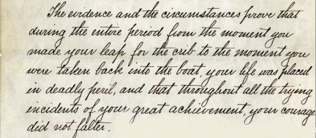 Part of Olsen's written commendation,