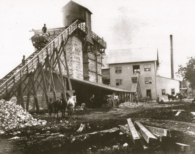 The Cement Works were huge, covering both sides of the river north of Capitol Drive, but short-lived. Courtesy Milwaukee County Historical Society