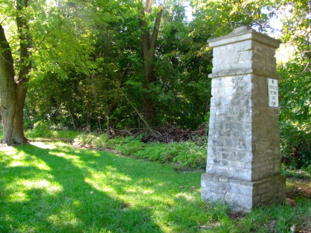 A pair of entry pillars are all that remains of the former St. Amilianus Orphan Asylum in St. Francis, which was destroyed in a fire in 1930. Carl Swanson photo