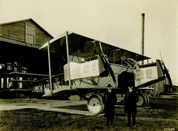 The three-engined Midnight Airliner awaits its wings at Lawson Aircraft Co.'s South Milwaukee plant. The aircraft had several interesting features, including a surprisingly modern cockpit arrangement. Photo from the personal collection of Merle Hayden