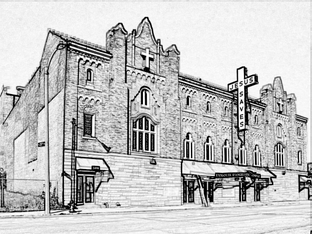 Pen and ink drawing of former Zenith Theater