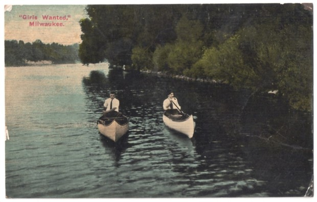 Girls wanted canoe postcard