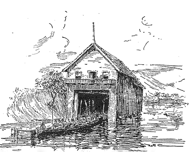 In the 1930s, Daphne Boat club member G. Walter Chandler sketched its Milwaukee River clubhouse from his memories of 1890s. The sketch shows the 60-foot-long club barge with its crew of 10 oarsmen and a full load of guests.