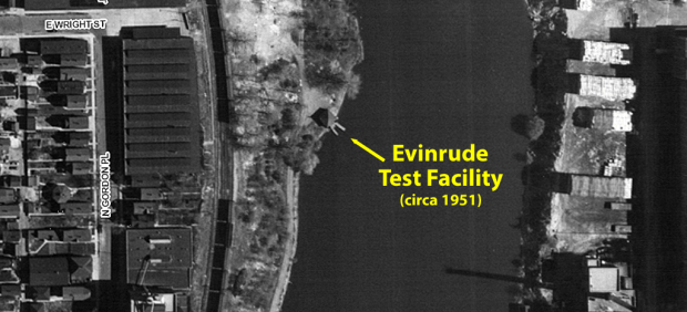 The small Evinrude building and its concrete dock are shown in a 1951 photo.