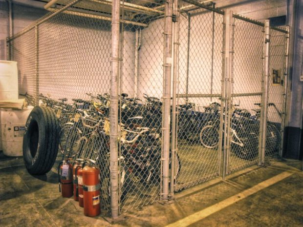 Milwaukee's Island of Lost Toys is this locked cage in the bus system's Fleet Maintenance Facility. Carl A. Swanson photo