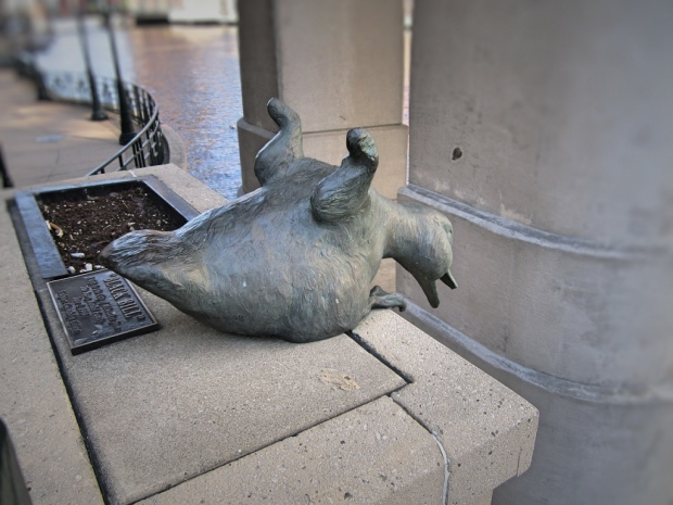 One of Gertie's brood, named Black Bill, is depicted on Milwaukee's Riverwalk in the act of falling into the river. Carl A. Swanson photo