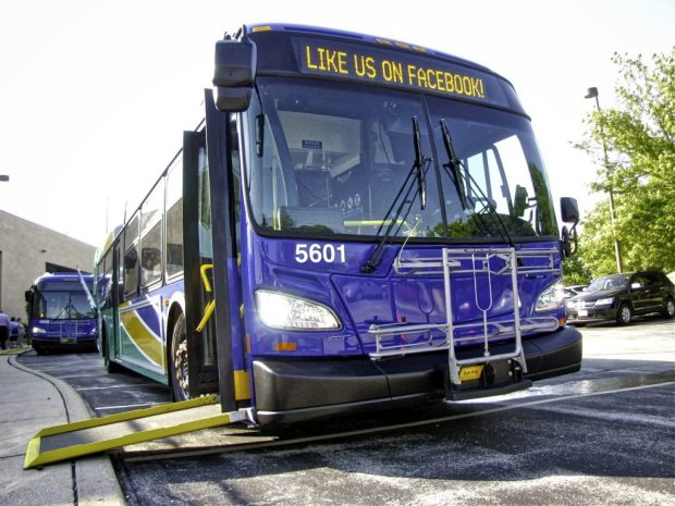 Since 2009, all Milwaukee County Transit System buses feature front-mounted bicycle racks. Users simply fold them down, secure their bikes, and, often, forget they're there. Carl A. Swanson photo