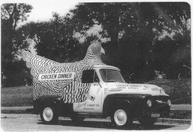 "Milwaukees Sperry Candy Co. is remembered for its popular – if oddly named – ""Chicken Dinner"" candy bars, which it delivered in an equally odd fleet of chicken-shaped trucks. Photo courtesy Milwaukee County Historical Society."
