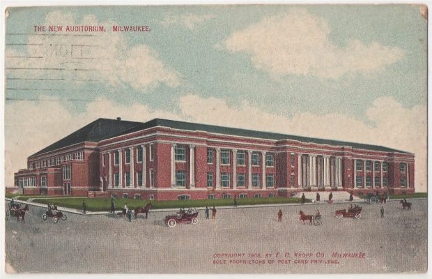 Built in 1909, the Milwaukee Auditorium was three years old hosted ex-president Roosevelt in 1912. It is now the Milwaukee Theater.