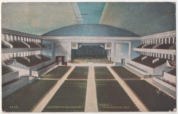 "The Milwaukee Auditorium had a capacity crowd of 9,000 to hear Roosevelt speak. As he did, ""The suspense which held the audience made even a whisper audible in that great auditorium."""