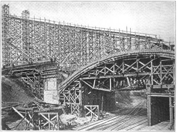 Timber forms used to build the Grand Avenue viaduct