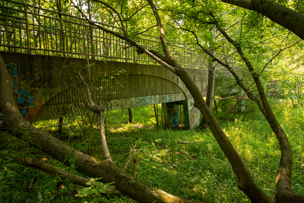 A photograph showing a side view of the concrete box culvert in Pleasant Valley Park, Milwaukee
